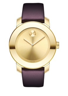 Movado Bold Bold Goldtone Stainless Steel & Burgundy Leather Strap Watch