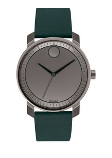 Movado Bold Bold Green Leather Strap Watch
