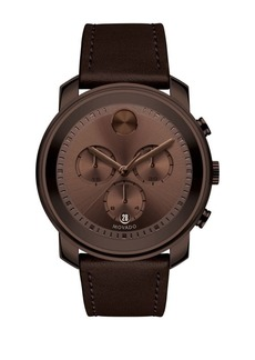 Movado Bold Bold Leather Strap Watch