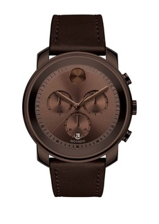 Movado Bold Bold Leather Strap Watch