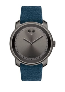 Movado Bold Bold Men's Metals Stainless Steel and Suede Strap Watch
