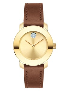 Movado Bold Bold Stainless Steel Analog Leather Strap Watch