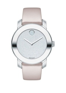 Movado Bold Bold Stainless Steel Analog Leather-Strap Watch