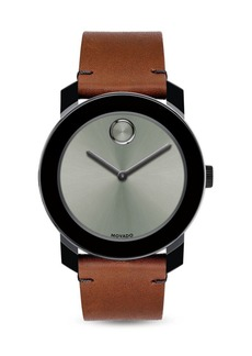 Movado Bold Bold Stainless Steel and Leather Strap Quartz Watch