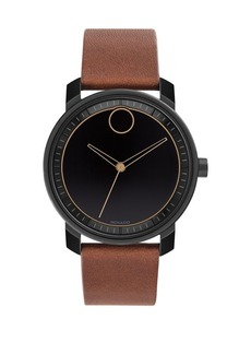 Movado Bold Bold Stainless Steel and Leather-Strap Watch
