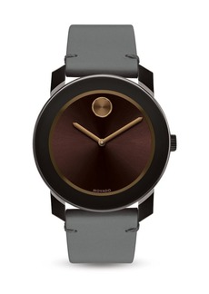 Movado Bold Bold Stainless Steel Leather Strap Watch