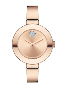 Movado BOLD Crystal & Rose Goldtone IP Stainless Steel Bangle Bracelet Watch