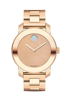 Movado BOLD Deep Rose Gold Ion-Plated Glitter Dial Watch, 36mm