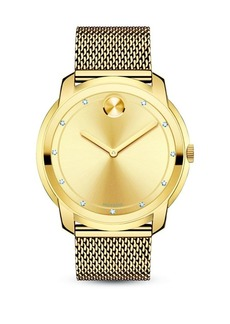 Movado Bold Diamond & Goldtone Stainless Steel Mesh Bracelet Watch