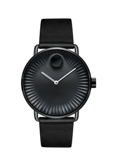 Movado Bold Edge Stainless Steel Black Dial Analog Leather Strap Watch
