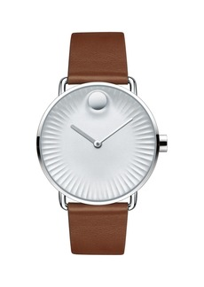 Movado Bold Edge Stainless Steel Silver Dial Analog Leather Strap Watch