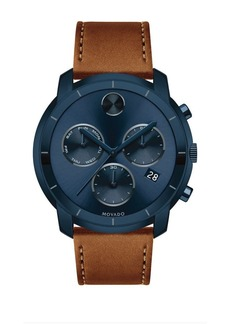 Movado Bold Large Movado Bold Chronograph Stainless Steel Leather-Strap Watch