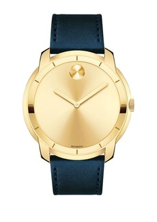 Movado Bold Large Movado Bold Crystal & Stainless Steel Leather-Strap Watch