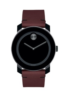 Movado Bold Men's Bold TR90 Two-Hand Watch with Brown Leather Strap