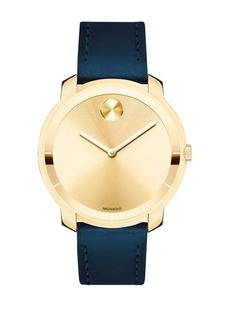 Movado Bold Mid-Size Movado Bold Crystal Leather-Strap Watch