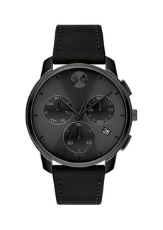 Movado Bold Stainless Steel & Leather-Strap Chronograph Watch