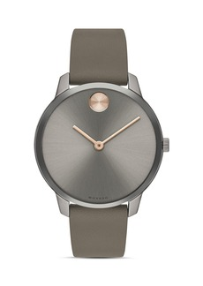 Movado BOLD Thin Leather Strap Watch, 35mm