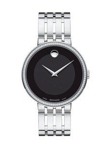 Movado Esperanza Stainless Steel, Diamond-Bezel Bracelet Watch
