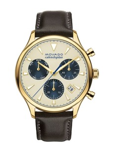 Movado Heritage Series Yellow Gold Stainless Steel Calendoplan Chronograph Watch