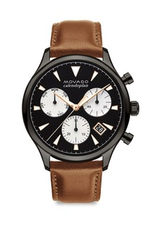 Movado Heritage Series Calendoplan Grey Ion-Plated Stainless Steel & Leather Strap Watch