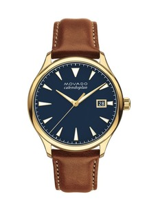 Movado Heritage Series Calendoplan Leather-Strap Watch