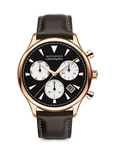 Heritage Series Calendoplan Rose Goldtone Stainless Steel & Leather Strap Watch