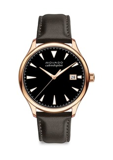 Movado Heritage Series Calendoplan Rose Goldtone Stainless Steel & Leather Strap Watch