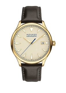 Movado Heritage Series Calendoplan Brown Leather Strap watch