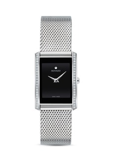 Movado La Nouvelle Diamond Silver-Tone Mesh Watch, 21mm x 29mm
