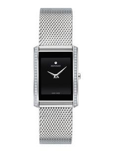 Movado La Nouvelle Rectangular Diamond Mesh Watch