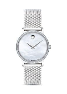 Movado Museum Classic Diamond Silver-Tone Watch, 28mm