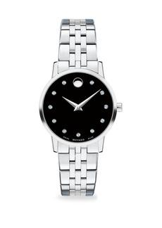 Movado Museum Diamond and Stainless Steel Bracelet Watch