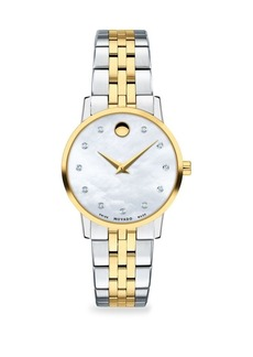Movado Museum Mother-Of-Pearl Gold-Plated and Stainless Steel Diamond Bracelet Watch