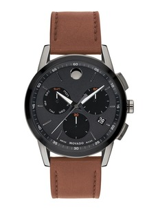 Movado Museum Sport Leather Chronograph Watch