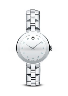 Movado Sapphire� Stainless Steel Watch with Diamonds, 28mm