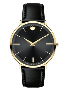 Movado Ultra Slim Goldtone Stainless Steel & Leather Strap Watch