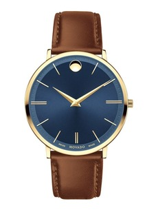Movado Ultra Slim Stainless Steel and Leather-Strap Watch