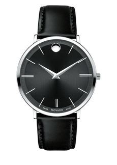Movado Ultra Slim Stainless Steel Leather Strap Watch