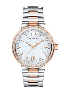 Movado Vizio Rose-Goldtone, Stainless Steel & Diamond-Accented Bracelet Watch