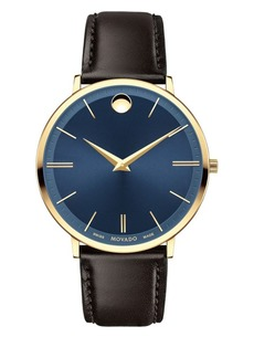 Movado Yellow Goldtone PVD Finished Stainless Steel and Leather Strap Watch, 0607088