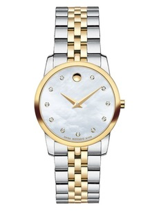 Movado Museum Classic Diamond, Sapphire Crystal, Mother-of-Pearl, Gold & Stainless Steel Bracelet Watch