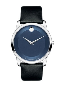Movado Museum Classic Stainless Steel & Leather Strap Watch
