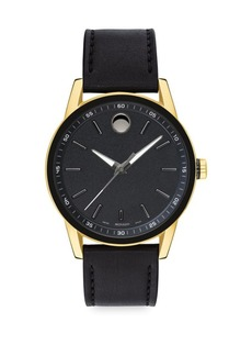 Movado Museum Sport Goldtone & Black Leather Strap Watch
