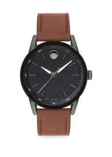Movado Museum Sport Gunmetal-Tone & Cognac Leather Strap Watch