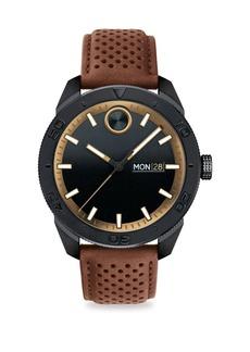 Tri-Tone Leather Strap Watch