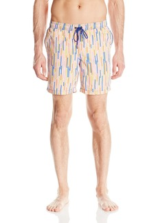 Mr. Swim Men's Dripping Stripe Dale Elastic Swim Trunk