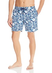 Mr. Swim Men's Elastic Waist Floral Print Swimt Trunk