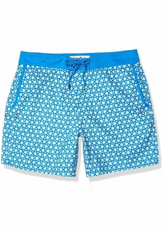 Mr. Swim Men's Octagon Fixed Waist Printed Swim Trunk Blue