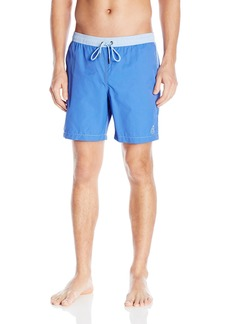 Mr. Swim Men's Solid Contrast Dale Elastic Swim Trunk