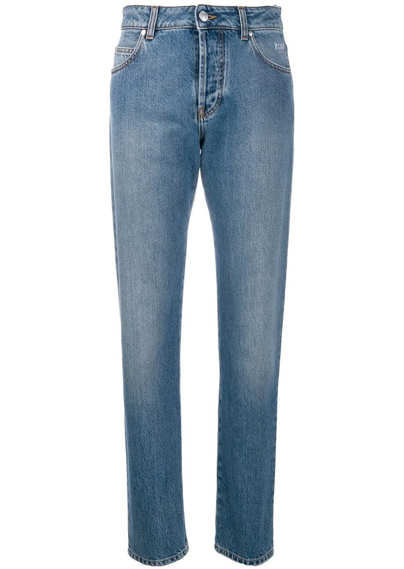 MSGM broken heart straight-leg jeans